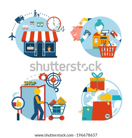 Set of four flat style vector shopping icons depicting a a store front  customer shopping  checkout with cashier   gift purchase and delivery - stock vector