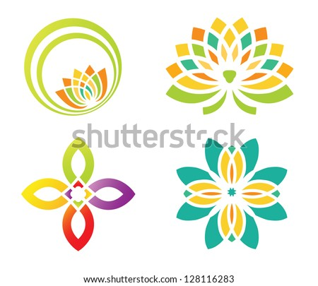 Set of four floral designs elements for logo designing - stock vector