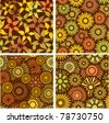 set of four floral seamless colorful backgrounds / patterns - stock vector