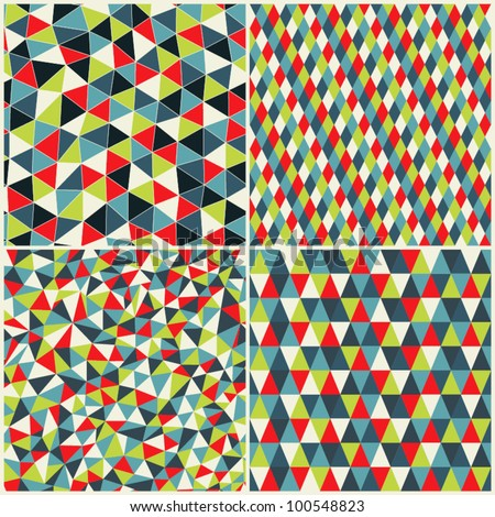 Set of four geometric pattern. Texture with triangles, rhombs.Mosaic. Abstract hand-drawn pattern, waves background. ?an be used for wallpaper, pattern fills, web page background, surface textures. - stock vector