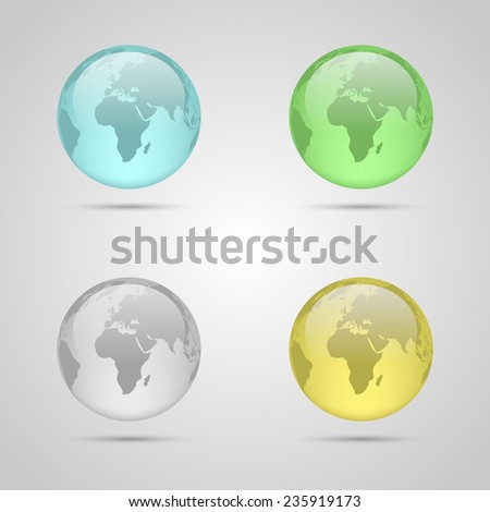 Set of four glass planet earth. Vector illustration. - stock vector