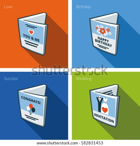 Set of four greeting card icons consisting of love card, birthday card, congratulations card and wedding card. Print publishing icon series.   - stock vector