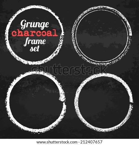 Set of four grunge circle chalk frames vector - stock vector