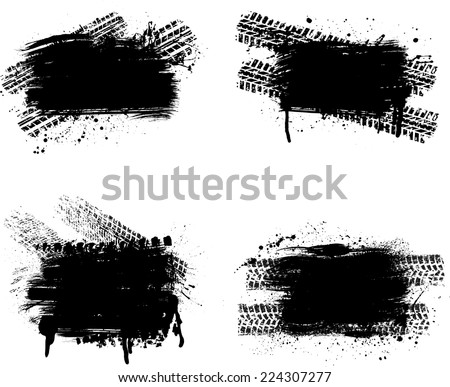 Set of four grunge tire track frames. eps10 - stock vector
