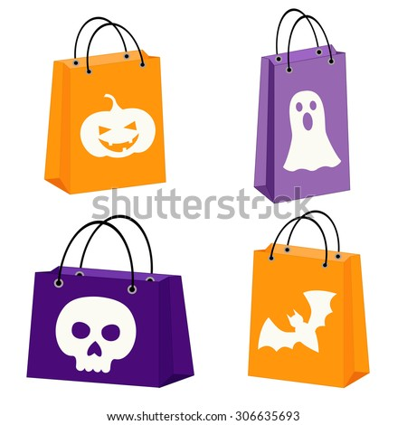 set of four Halloween bags with images of a bat, scull, jack-o-lantern and a ghost - stock vector