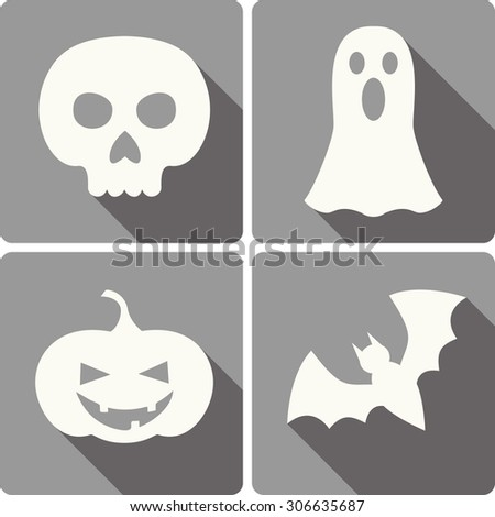 set of four Halloween icons with images of a bat, scull, jack-o-lantern and a ghost - stock vector