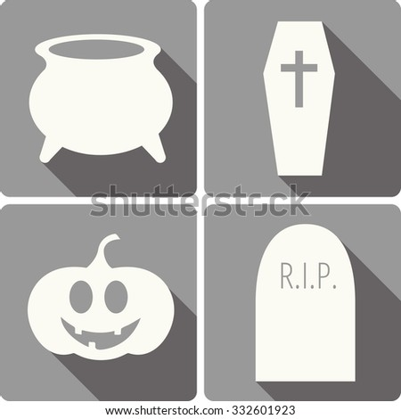 set of four Halloween vector icons with images of a witch cooking pot, gravestone, jack-o-lantern and a coffin - stock vector
