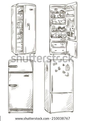 set of four hand drawn fridges. open fridge with healthy food. Vector illustration.  - stock vector