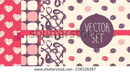 set of four hand drawn seamless patterns, vector illustration - stock vector