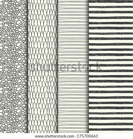 Set of four hand drawn textures - stock vector