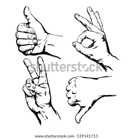 Set of Four Hands with Thumb Finger Up,  Victory and O.K. Symbol Hands. Vector Illustration - stock vector