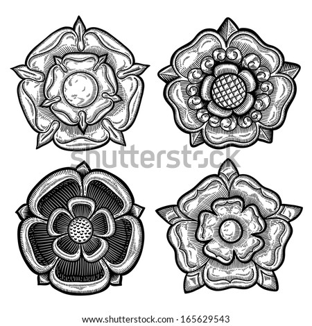 Set of four heraldic roses. Vintage decorative elements. Isolated objects. - stock vector