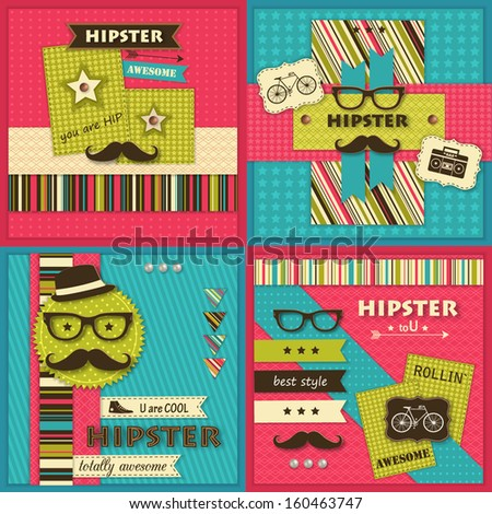 Set of four Hipster backgrounds with paper hipster icons and scrapbook elements. Modern creative handmade / paper craft design. This vector illustration can be used as greeting card or invitation. - stock vector