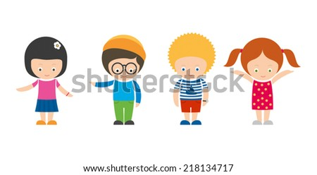 Set of four illustrated smiling kids - stock vector