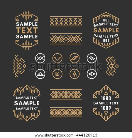 Set of Four Line Art Decorative Geometric Vector Frames and Borders with Golden and Black Colors. Vector Ornaments, Vector Decoration, Line Ornament, Vector Logos, Vector Labels - stock vector
