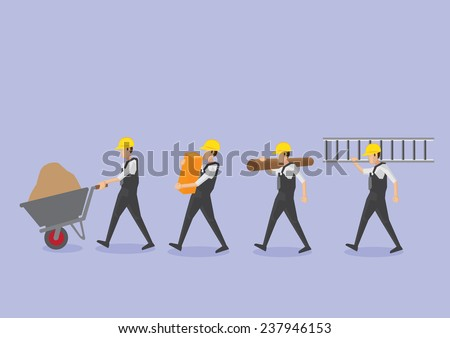 Set of four manual workers or labors in yellow helmet carrying work tool and equipment vector icons isolated on plain purple background - stock vector