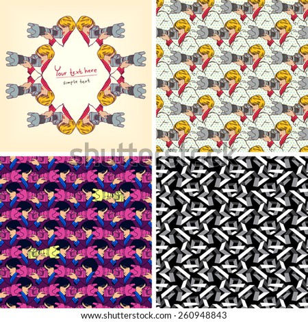 Set of four modern design. Greeting card of photographer with camera. Vector seamless pattern set for print, web, fabric  - stock vector
