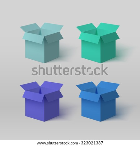 Set of four open colorful boxes for your design isolated on the light background with gradient. - stock vector
