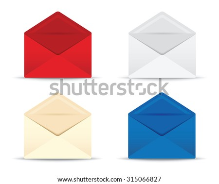 set of four open envelopes - stock vector