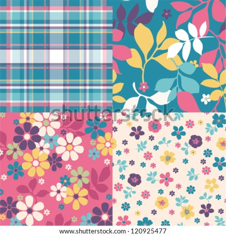 Set of four ornated floral seamless texture vector baclground - stock vector