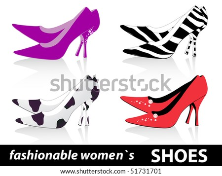 Set of four pairs fashionable women`s shoes - stock vector
