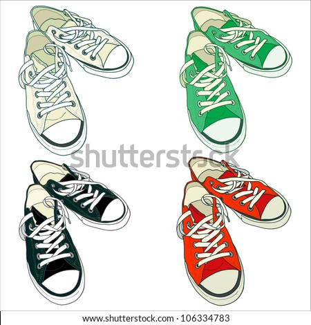 Set of four pairs of sneakers in different colors. Vector illustration. - stock vector