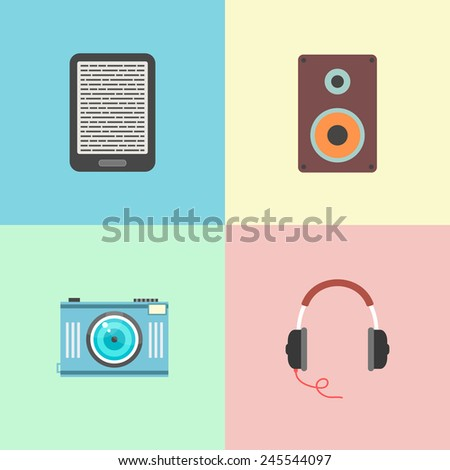 set of four portable devices. concept of gadgets, electronic and multimedia. template elements for web and mobile applications. flat design trendy modern eps10 vector illustration - stock vector