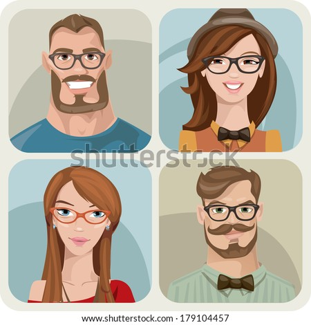 Set of four portraits of hipsters, two men and two women  - stock vector