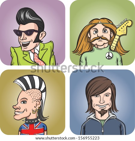 Set of four portraits of rock musicians of various styles. Easy-edit layered vector EPS10 file scalable to any size without quality loss. High resolution raster JPG file is included.  - stock vector