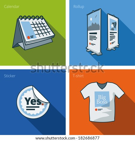 Set of four printouts icons consisting of calendar, rollup banner, sticker and t-shirt in cartoon style. Print publishing icon series.  - stock vector