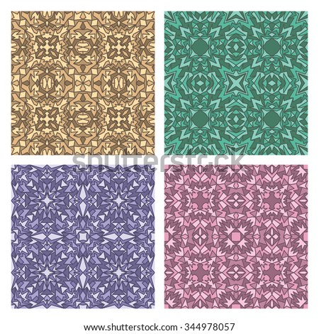 Set of four quadrate seamless oriental carpet backgrounds - stock vector
