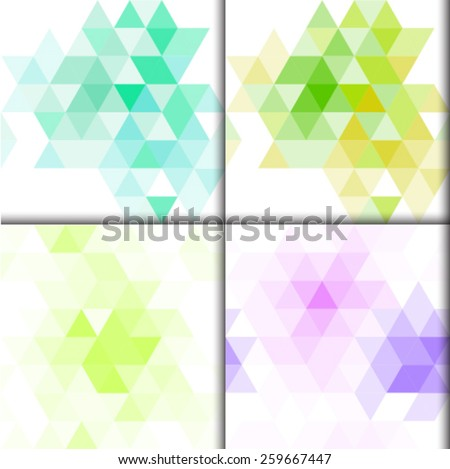 Set of four seamless backgrounds with triangles. Abstract pattern, abstract background. Fresh spring colors. Stock vector. - stock vector