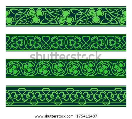 set of four seamless borders with shamrock - stock vector