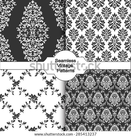 Set of four seamless damask patterns. Classic black and white wallpapers. Vintage vector backgrounds. - stock vector