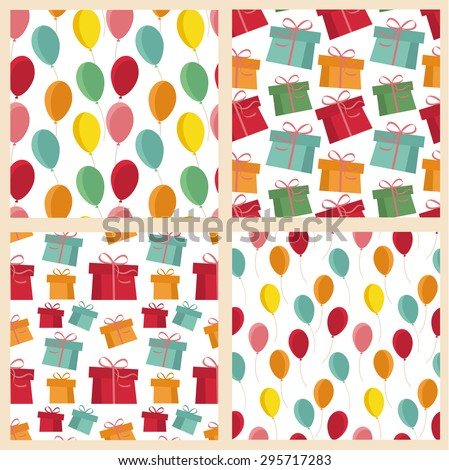 Set of four seamless pattern of colored gifts and balloons - stock vector