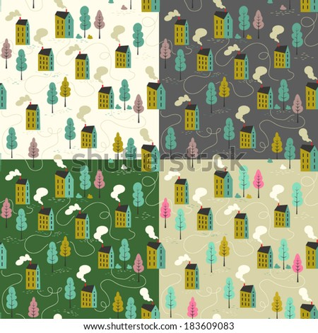 Set of four seamless vector pattern of cartoon houses. Kid's elements for scrap-booking. Childish background. Hand drawn vector illustration.  - stock vector