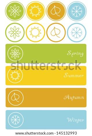 set of four season symbols, spring, summer, autumn and winter icon - stock vector