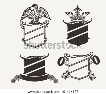 Set Of Four Shield Heraldry Compositions - stock vector