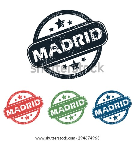 Set of four stamps with name Madrid and stars, isolated on white - stock vector