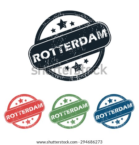 Set of four stamps with name Rotterdam and stars, isolated on white - stock vector
