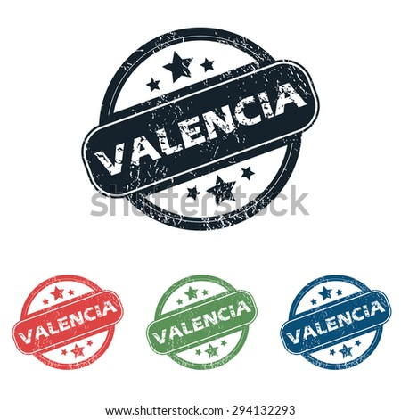 Set of four stamps with name Valencia and stars, isolated on white - stock vector