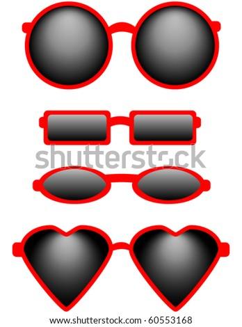 Set of Four Sunglasses - stock vector