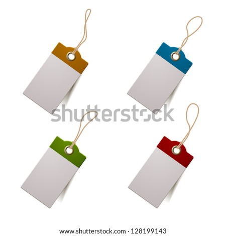 Set of four tags, eps10 vector with transparent shadows - stock vector