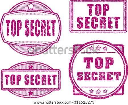 Set of four top secret red rubber stamps - stock vector