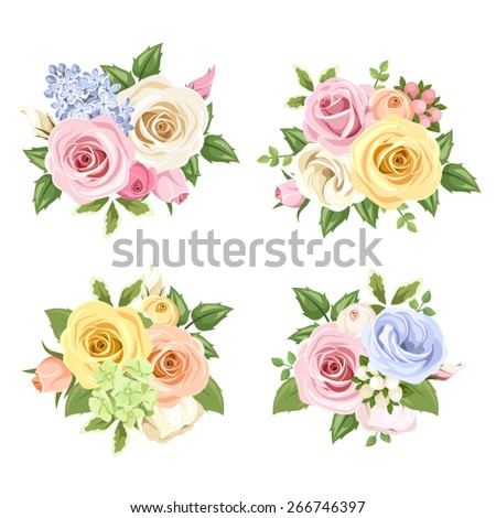 Set of four vector bouquets of pink, blue, white, orange and yellow roses and lisianthus flowers. - stock vector