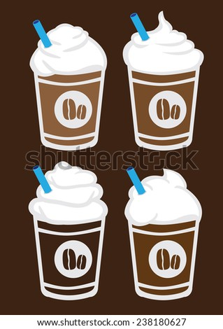 Set of four vector illustration of iced coffee with whip cream and blue straw in plastic cup isolated on brown background - stock vector
