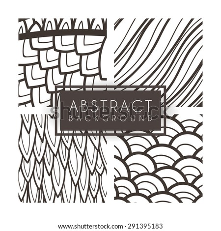 Set of four vector monochrome intricate patterns. Doodle. Zentangle - stock vector