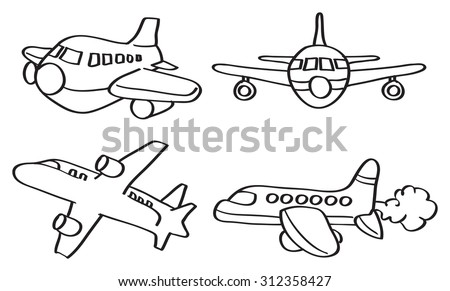 Set of four vector outline illustration of cartoon airplane in different perspective views isolated on white background. - stock vector