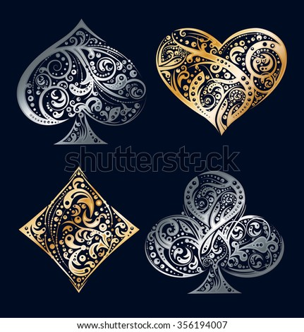 Set of four vector playing card suit symbols made by floral elements. Vintage stylized  illustration in silver and golden colors on black background. Works well as print, computer icon, logo - stock vector