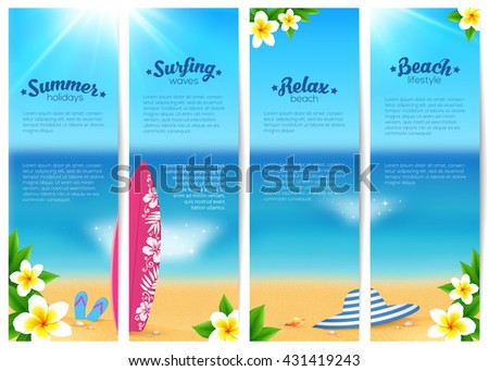 Set of four vector summer ocean beach vacation banners. Sea travel banners template. - stock vector